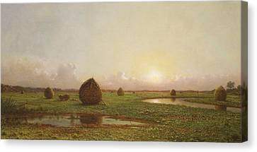 Haystacks Canvas Print by Martin Johnson Heade