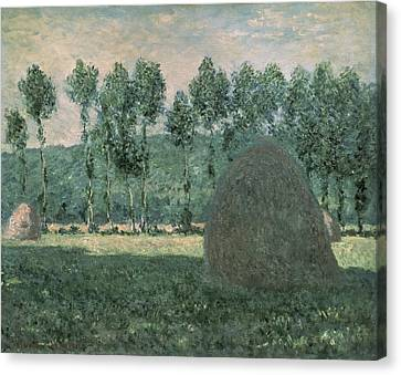 Haystacks Near Giverny Canvas Print by Claude Monet