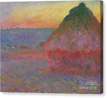 Morn Canvas Print - Haystacks, Pink And Blue Impressions, 1891 by Claude Monet