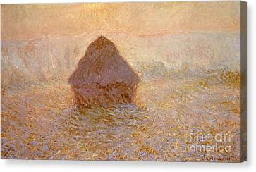 Haystacks, Sun In The Mist Canvas Print