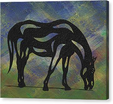 Canvas Print featuring the painting Hazel - Abstract Horse by Manuel Sueess