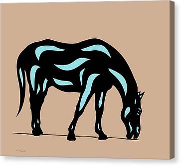 Canvas Print featuring the digital art Hazel - Pop Art Horse - Black, Island Paradise Blue, Hazelnut by Manuel Sueess