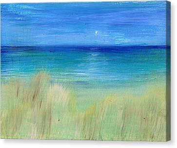 Hazy Beach Mini Oil On Masonite Canvas Print by Regina Valluzzi