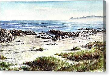 Canvas Print featuring the painting Hazy Coastline by Heidi Kriel