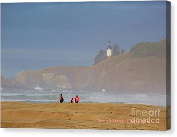 Hazy Day At The Beach Canvas Print by Michele Martin