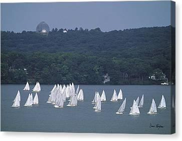 Hazy Day Regatta - Lake Geneva Wisconsin Canvas Print by Bruce Thompson
