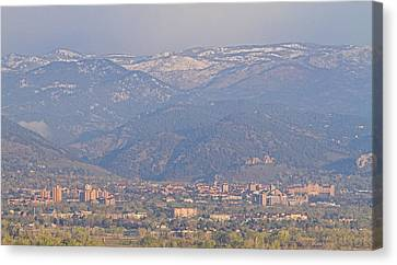 Hazy Low Cloud Morning Boulder Colorado University Scenic View  Canvas Print by James BO  Insogna