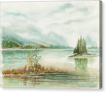 Hazy On The Lake Canvas Print by Samuel Showman