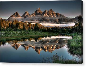 Teton Canvas Print - Hazy Reflections At Scwabacher Landing by Ryan Smith