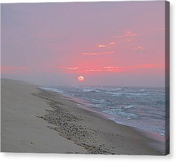 Canvas Print featuring the photograph Hazy Sunrise by  Newwwman