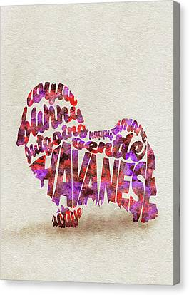 Havanese Dog Watercolor Painting / Typographic Art Canvas Print