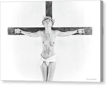Highlight Crucifix Black And White Canvas Print by Ramon Martinez