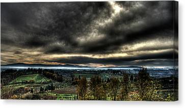 Hdr Tuscany Sunset Canvas Print by Andrea Barbieri