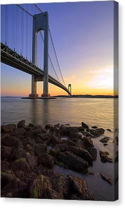 Hdr Verrazano Bridge Sunset Canvas Print by Samuel Kessler