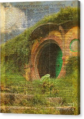 Collage Tapestries - Textiles Canvas Print - he Bag End Hobbit House Lord of the Rings Shire Illustration Dictionary Art by Jacob Kuch