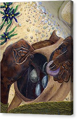 He Chose Him Five Smooth Stones Canvas Print by Dan RiiS Grife