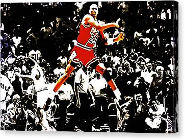 Patrick Ewing Canvas Print - Michael Jordan Sweet Victory by Brian Reaves