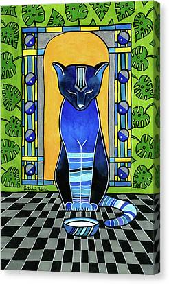 Canvas Print featuring the painting He Is Back - Blue Cat Art by Dora Hathazi Mendes