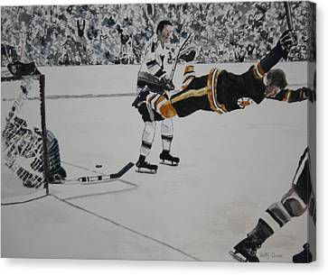 He Scores Canvas Print by Betty-Anne McDonald