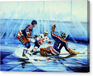 Action Sports Artist Canvas Print - He Shoots by Hanne Lore Koehler