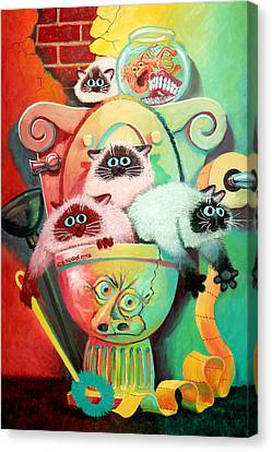 Surrealist Canvas Print - Head Cleaners by Baron Dixon