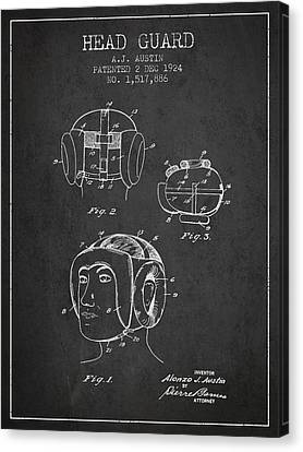 Head Guard Patent From 1924 - Charcoal Canvas Print by Aged Pixel