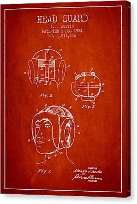 Head Guard Patent From 1924 - Red Canvas Print by Aged Pixel