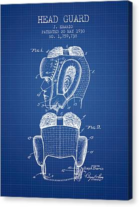 Head Guard Patent From 1930 - Blueprint Canvas Print by Aged Pixel