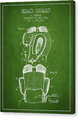 Head Guard Patent From 1930 - Green Canvas Print by Aged Pixel