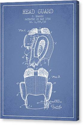 Head Guard Patent From 1930 - Light Blue Canvas Print by Aged Pixel