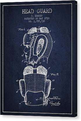 Head Guard Patent From 1930 - Navy Blue Canvas Print by Aged Pixel