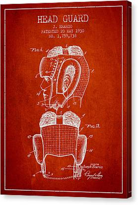 Head Guard Patent From 1930 - Red Canvas Print by Aged Pixel