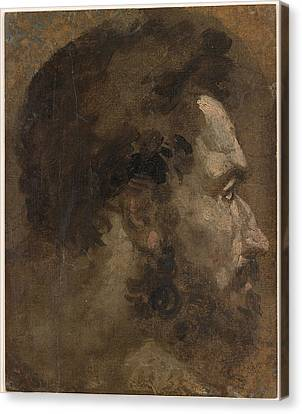 Head Of A Bearded Man In Profile To The Right  Canvas Print