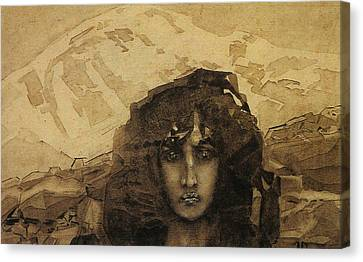 Head Of A Demon Canvas Print by Mikhail Aleksandrovich Vrubel