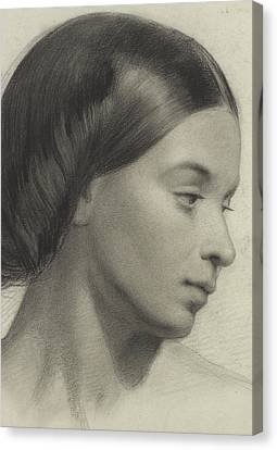 Head Of A Girl Canvas Print by Anonymous