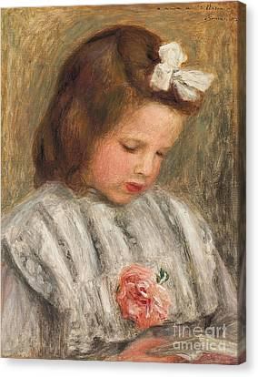 Head Of A Girl, Tete De Fillette Canvas Print by Pierre Auguste Renoir