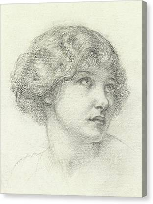 Youthful Canvas Print - Head Of A Girl  by Walter John Knewstub