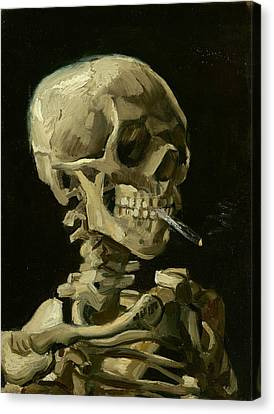 Human Skeleton Canvas Print - Head Of A Skeleton With A Burning Cigarette by Vincent van Gogh