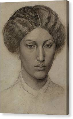 Head Of A Young Woman Canvas Print by Dante Gabriel Rossetti
