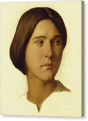 Head Of A Young Woman Looking To Her Left, 19th Century Canvas Print