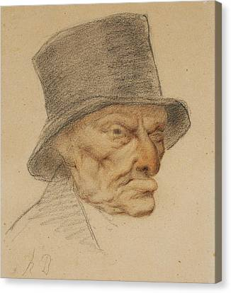 Head Of An Old Man Canvas Print by Honore Daumier