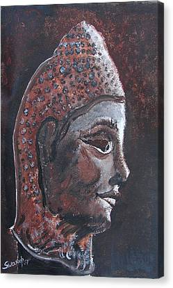 Canvas Print featuring the painting Head Of Buddha by Anand Swaroop Manchiraju