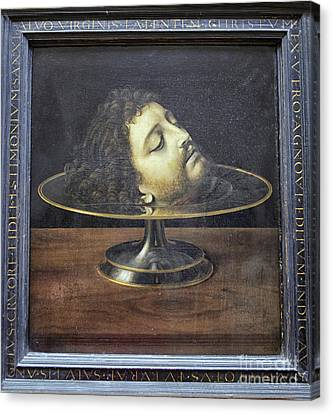 Canvas Print featuring the photograph Head Of John The Baptist, 1507, With Frame And Inscription -- By by Patricia Hofmeester