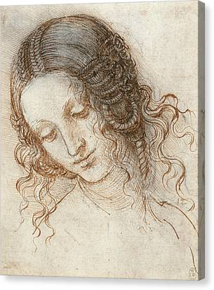 Head Of Leda Canvas Print by Leonardo da Vinci
