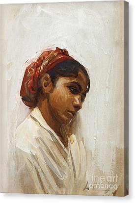 Head Of Spanish Girl Canvas Print by Celestial Images