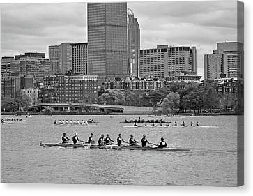 Head Of The Charles. Charles Rowers Black And White Canvas Print by Toby McGuire