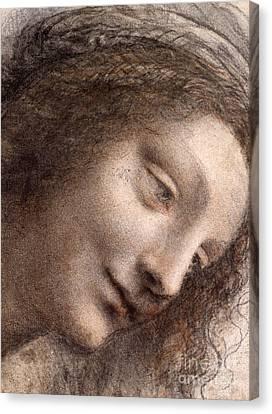Head Of The Virgin Mary Canvas Print by Leonardo Da Vinci