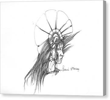 Canvas Print featuring the drawing Head by Padamvir Singh