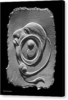 Canvas Print featuring the relief Head by Suhas Tavkar