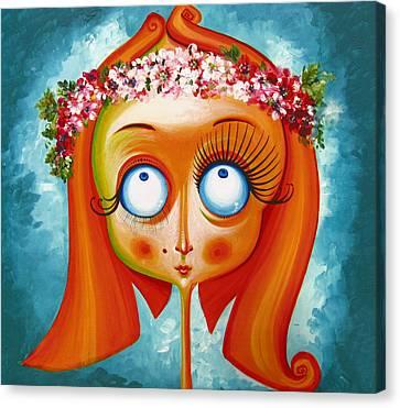 Head With Wreath Of Flowers - Acrylic On Canvas Canvas Print